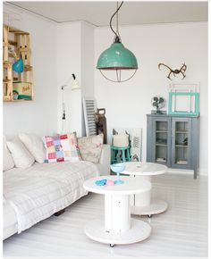 LOVE the spool tables!! Brilliant; must do!! ......  Battered industrial finishes seem to come alive when teamed with brilliant whites and colour pops; so effortlessly stylish, such spaces ooze laid-back, serene style.
