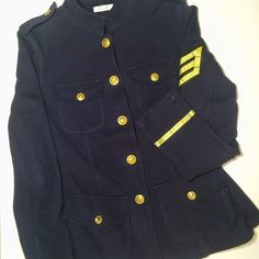 Delia's Military style coat 100% cotton coat by Delia's. Gold buttons with 4 front pockets . Navy blue . Very cute and cozy. Good condition . Jackets & Coats