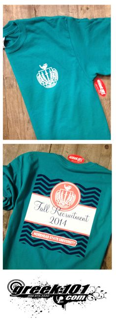 Fraternity Sorority Life  T-shrits. Go Greek! Formal Recruitment 2014 - Panhellenic Crest, chevrons, jade dome, coral, white, navy, Greek101.com, email: inquiry@greek101.com, call: 888-473-3550