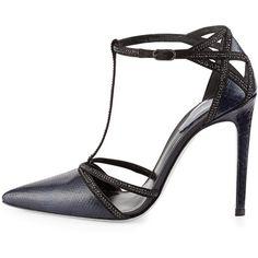 Rene Caovilla Crystal-Trim Python T-Strap Pump featuring polyvore fashion shoes pumps black evening pumps snakeskin pumps glitter pumps black shoes evening pumps