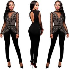 2017 Fashion 4 Colors Women O-neck See Through Jumpsuit Sexy Party Night Club Casual Style Romper Femme Full Length Jumpsuit