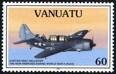 Stamp: Curtiss SB2C-3 Helldiver (Vanuatu) (Inclusion of the New Hebrides in the Second World War (III)) Mi:VU 991