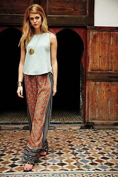 wide leg pants, boho chic, fashion, printed pants, cloth, style, anthropologie, outfit, legs
