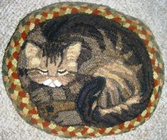 CAT ON THE MAT ~ Designed and hooked by Susanne McNally