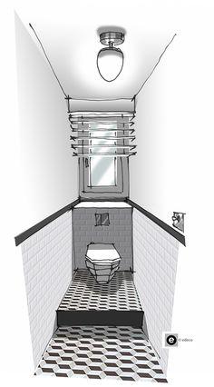 Croquis architecture intérieure-Dominique JEAN pour EDECO Rénovation-WC blancs-Carreaux de ciment-carreaux de métro.