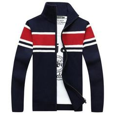 Men's Winter Sweater Stand Collar Thicken Warm Cardigans Sweaters For Male Fashion Clothing Men Striped knitwear Sweater