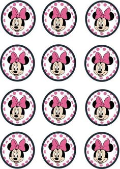 Printable Minnie Mouse Cupcake Toppers 2 Inch Circles
