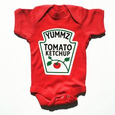 Ketchup Baby Onesie from Buzz Bear Studio. Comfortable and Easy to Snap on. Perfect for Baby's First Halloween.