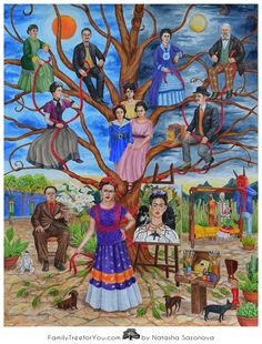 Frida Kahlo's family tree. The family portrait features Frida Kahlo next to her famous 'Self-Portrait with Thorn Necklace and Hummingbird', Diego Rivera, Frida Kahlo's parents Guillermo Kahlo and  Matilde Calderón, her grandparents and sisters. The painting also features La Casa Azul, famous Frida Kahlo's bed, as well as many elements and details taken from Frida Kahlo's paintings and self-portraits.
