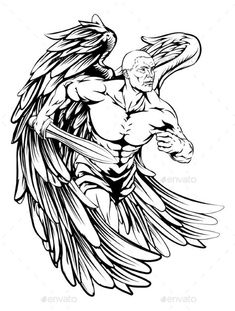Buy Angel Drawing by Krisdog on GraphicRiver. An illustration of a warrior angel character or sports mascot holding a sword and shield Body Art Tattoos, Tribal Tattoos, Sleeve Tattoos, Tattoo Sketches, Tattoo Drawings, Guerrero Tattoo, Archangel Michael Tattoo, Sword Tattoo, Angel Drawing