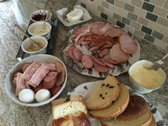 A few months late but here's a traditional Ukrainian Easter breakfast spread.