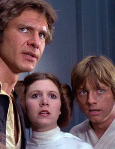 Harrison Ford, Carrie Fisher & Mark Hamill in their iconic roles from the film that changed everything about cinema