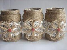 Rustic Wedding Burlap Jar, Lace and burlap jar, burlap centerpiece,Rustic wedding decor, country h Wedding Favours Bottles, Wedding Jars, Wedding Burlap, Burlap Mason Jars, Mason Jar Crafts, Bottle Crafts, Burlap Centerpieces, Rustic Wedding Centerpieces, Wedding Decor
