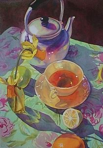 Tea Time Watercolor by Linnea Tobias