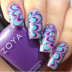 Image via Swirly peppermint water marble nail art, Christmas nails Image via How to make a purple nail art on the water Image via Cool water marble nails art designs Image vi Marble Nail Designs, Pretty Nail Designs, Simple Nail Art Designs, Easy Nail Art, Colorful Nail Designs, Fancy Nails, Cute Nails, Pretty Nails, My Nails