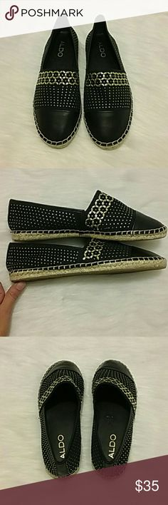 NEW Aldo slide on shoes Brand new all black with gold embezzlement slide on shoes from Aldo. BRAND NEW NEW NEW! ! ! Adorable Aldo Shoes