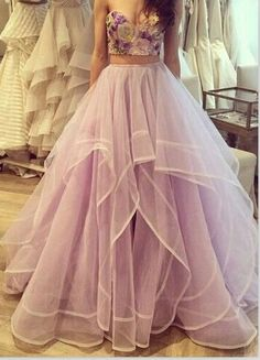 Hot Sales Two Pieces Lavender Ball Gown Prom Dresses,High Low Fluffy Skirt Evening Gowns,Two Pieces Quinceanera Dresses 2016 For Teens Juniors Dress,Light Purple Tiered Prom Gowns