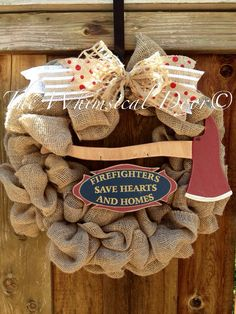 Fire Fighter Burlap Wreath Fire Chief Fire by TheWhimsicalDoor, $50.00