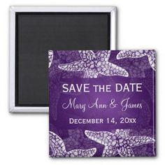Beach Wedding Save The Date Starfish Purple Fridge Magnets $3.20