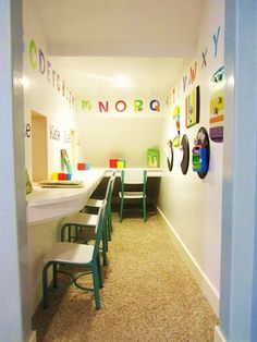 This storage room was turned into a fun play school for the kids - an amazing #diy transformation!