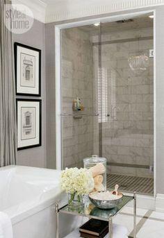 Brilliant Home Interior Design : Grey Bathroom Interior Design Ideas Marble Tile Shower design bedrooms interior design de casas interior decorators Bathroom Renos, Grey Bathrooms, Beautiful Bathrooms, Bathroom Modern, Neutral Bathroom, Bathroom Colors, Classic Bathroom, Simple Bathroom, Serene Bathroom