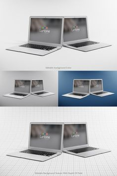 2 Macbook Air in this mock up. You can edit the background color & texture. The background texture is editable via a smart object & comes with a depth of field. Macbook Mockup, Different Angles, Professional Presentation, Depth Of Field, Mockup Templates, Presentation Design, Macbook Air, Colorful Backgrounds, Your Design