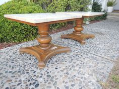 HOLLYWOOD REGENCY Pair of Marble Top Cocktail Tables Los Angeles by HouseCandyLA