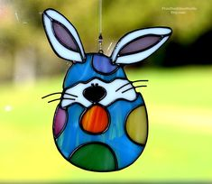 Stained glass Easter Bunny in polka dot egg, Easter Bunny Suncatcher, Easter egg sun catcher, glass bunny, holiday decor, Easter suncatcher