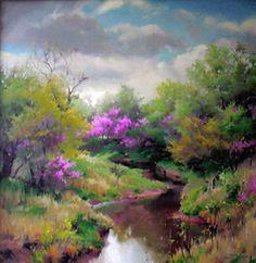 "Oklahoma Artist Linda Tuma Robertson ""Redbuds Along the Creek"""