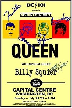 Queen and Billy Squier Concert Poster Tour Posters, Band Posters, Norman Rockwell, Concert Rock, Vintage Concert Posters, Queen Band, Music Icon, Music Files, Rock Legends