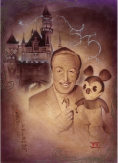 Disney''Walt and Mickey 55th'' Giclée by Noah #disney #affiliate #art #mickeymouse #waltdisney
