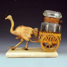 Antique French Palais Royal Figural Inkwell, Ostrich Pulling Cart from The Antique Boutique