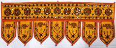 Beautiful Mirrored Indian Toran Wall Hanging Light Orange with Red Border (LOR3) | eBay