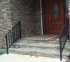 EXTERIOR HANDRAILS FOR STEPS | Exterior Handrails Exterior Handrails Help  With The Winter Weather .. Wrought Iron StaircaseStair ...