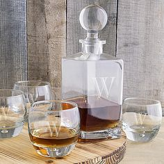5 piece 32 ounce square glass whiskey decanter and 11 ounce round whiskey glasses set laser engraved with a large single block initial really stands out when filled with bourbon or scotch whiskey