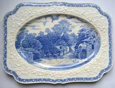 French Country Style Blue Transferware Embossed Border Platter Staffordshire Rural England
