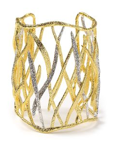 Alexis Bittar Pave Accented Gold Large Woven Leaf Cuff