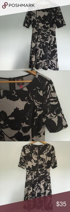 Vince  Camuto Dress Gray With Black Roses 10 Vince Camuto Dress. Gray with Black Roses. Thick dress. Meant to be Fall or Winter dress. Like new only worn twice. Vince Camuto Dresses Midi