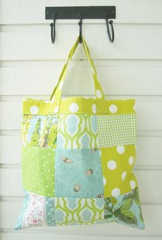 Shopping bag small tote bag patchwork with mint by poppyshome, $20.00
