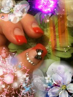 Diamonds and bows red nails nail art