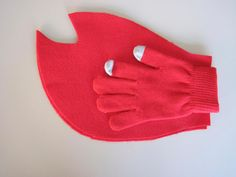 . Hand-traced, hand-cut red felt lobster claw shapes hot glued over a red glove creates a DIY lobster claw, as used in a homemade 'Lobster-in-a-Pot' costume worn by Eagle features editor Lindsey Hollenbaugh. Jenn Smith/Berkshire Eagle Staff Oct. 18, 2013