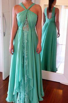 Unique design green chiffon lace long prom dress,evening dresses