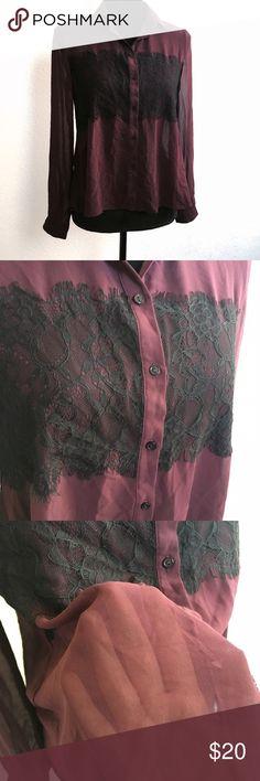 TOPSHOP Sheer Button-Down Blouse Sz 2 burgundy TOPSHOP | Size 2 | Sheer | BlackLace Detail | Topshop Tops Button Down Shirts