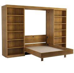 Abbott Library Bed in Oak - Walnut Finish.  Shown with Bed Open