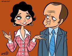 The Bob Newhart Show (1982-1990, CBS): Suzanne Pleshette & Bob Newhart by Emslie via http://cartooncave.blogspot.com