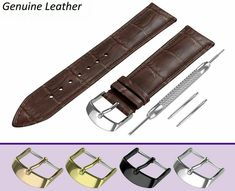 DARK BROWN crocodile leather pattern strap made of high quality genuine calf leather in classic padded design. Rotary Watches, Seiko Watches, Brown Band, Leather Pattern, Breitling, Calf Leather, Fossil, Omega, Dark Brown