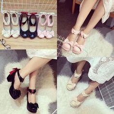 0f07721ef Black Beige Pink Sweet Bow Lolita Heels Shoes S12900