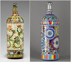Декорации из стеклянных бутылок