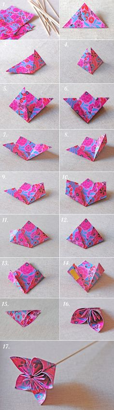 Origami kusudama flowers - just got some of this paper too!