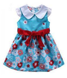 Vestido Pretty Girl Florido Azul com Gola